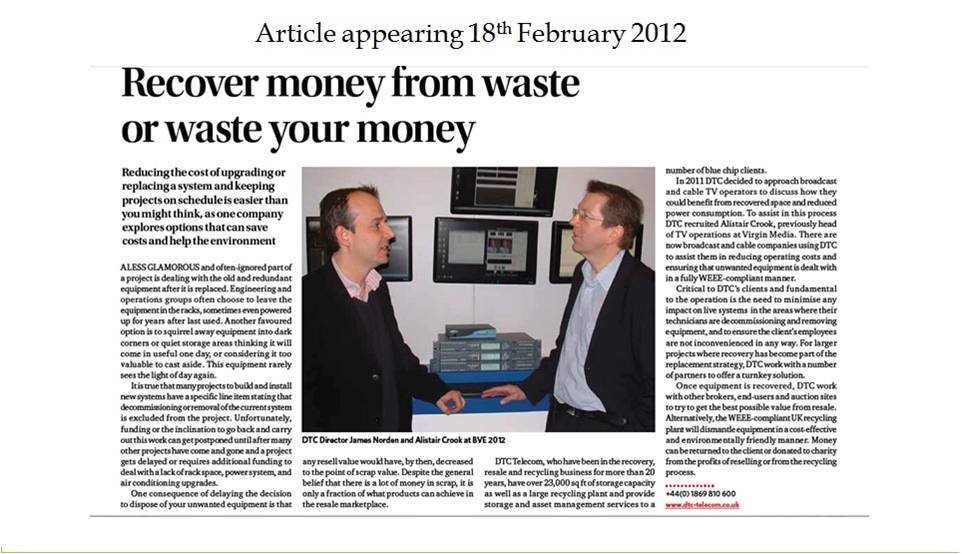 Daily Telegraph Article 18th Feb 2012
